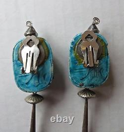 Vtg Egyptian Revival Sterling Silver Blue Glazed Faience Scarab Clip Earrings