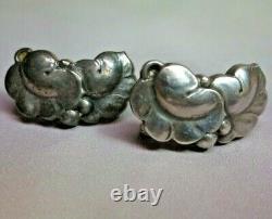 Vtg GEORG JENSEN Sterling Silver Leaf & Berry Screw-Back Earrings #50