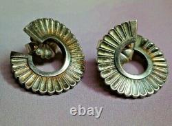 Vtg GEORG JENSEN Sterling Silver Modernist Pierced Earrings #92, Denmark