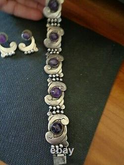 Vtg. Hecho En Mexico. 925 Sterling Silver Purple Stone Necklace & Braclet Set