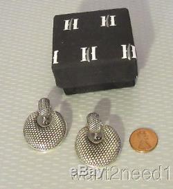 Vtg JOHN HARDY doorknocker hoop drop CLIP ON EARRINGS fine sterling silver weave