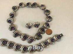 Vtg Jose ANTON Sterling Silver Mexico Amethyst Bracelet Necklace Earrings Set