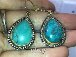 Vtg Large Stephen Dweck 18K Gold Sterling Silver Turquoise Crystal Earrings