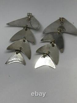 Vtg. Large Taxco Mexico Sterling Silver and Brass Fish Skeleton Earrings TR-70