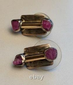 Vtg Lilly Barrack Modernist Gold Sterling Silver + Ruby or Rhodonite Earrings