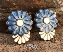 Vtg Margot De Taxco Mexico Sterling Blue & White Enamel Daisy Flower Earrings