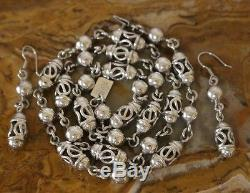 Vtg Mexico Sterling 24.5 Inch Lanterns & Beads Necklace Earrings 67 Grams TAXCO