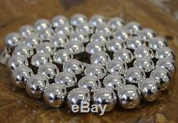Vtg Mexico Sterling Silver 16 mm Bead 34 Inch Necklace Earrings TAXCO 208 Grams