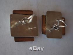Vtg Mid Century Pietra Dura Mosaic Square Abstract Brutalist Sterling Earrings