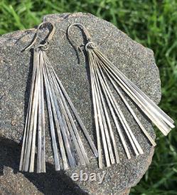 Vtg Modernist Mid Century Sterling Silver Studio Fan Artisan Long Dangle Earring