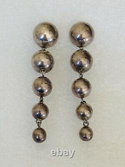 Vtg Modernist Taxco Mexico Sterling Silver Graduated Ball Long Dangle Earrings