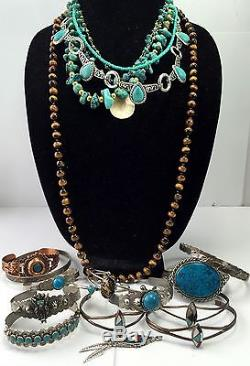 Vtg Mostly STERLING SILVER Native OLD PAWN Rings Necklace Earrings Turquoise LOT