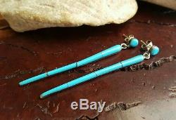 Vtg. NAVAJO 2.5 Turquoise Inlay Sterling Silver Dangle Post Stick EARRINGS