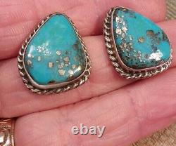 Vtg Navajo Sparkling Pyrite Morenci Turquoise Sterling Silver Earrings