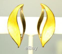 Vtg Norway Sterling Silver Yellow Guilloche Enamel Earrings Signed Hroar Prydz