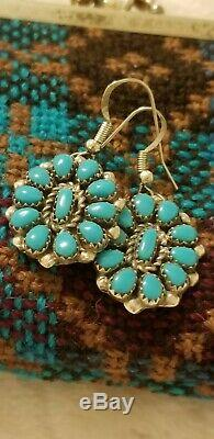 Vtg Old Pawn NAVAJO Cluster MORENCI TURQUOISE Sterling Silver Clip-On EARRINGS