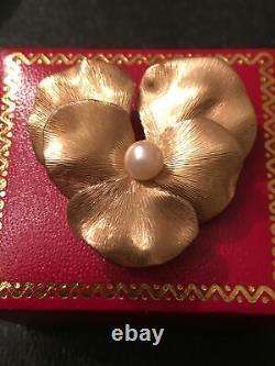 Vtg Pansy Krementz 10K Gold Sterling Silver Pearl Brooch Pin Pendant Earrings