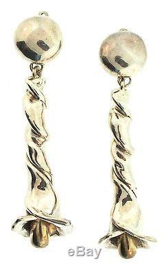 Vtg RACHEL GERA Israel Sterling 925 Modernist 4 Dangling Lily Flower EARRINGS