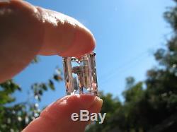 Vtg. Rock Crystal Emerald Cut Chunky Stones Sterling Screw Back Earrings Pendant