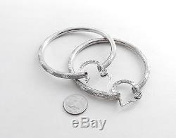 Vtg SLANE & SLANE Sterling Silver 3 Hoop Earrings