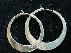 Vtg Signed Ed Levin Modernist Hammered Sterling Silver Hoop Earrings, 14kt Posts