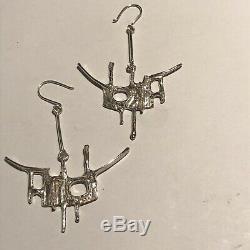 Vtg Signed Juhls Kautokeino Sterling 925 Modernist Earrings Norway