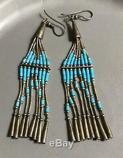 Vtg Southwest 925 Liquid Sterling Silver Long Dangle Turquoise Heishi Earrings