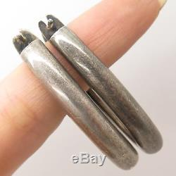 Vtg Spain 925 Sterling Silver Hollow Oval Hoop Earrings