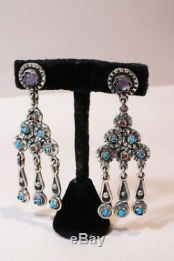 Vtg Sterling 925 Amethyst Coral Turquoise Dangle Earrings Mexico TS-85 Matl Era