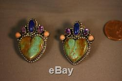 Vtg Sterling Silver Designer Turquoise Heart Earrings with Lapis, Amethyst, Coral