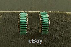 Vtg Sw Zuni Turquoise Needlepoint Earrings By Bernard Peina Sterling