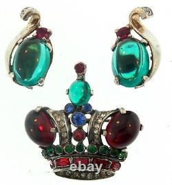 Vtg TRIFARI Sterling Rhinestone Crown Figural Brooch Pin SMALL & Clip Earrings