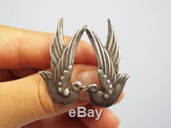 Vtg Taxco Mexico Los Castillo Sterling Silver Bird Dove Earrings, #552