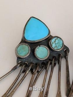 Vtg Turquoise Sterling Silver MCM Cluster Chandelier Earrings Navajo or Zuni