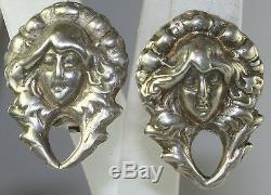 Vtg Victorian Revival Art Nouveau Lady Head Sterling Silver Clip Earrings