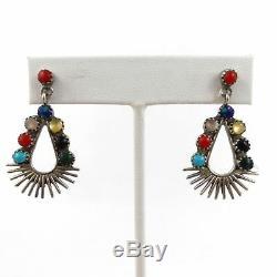 Vtg ZUNI Signed Stone Dangle Drop Earrings Sterling Silver 1.5 (4.6)g