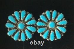 Vtg Zuni Petit Point Turquoise Cluster Sterling Silver Post Pierced Earrings T4