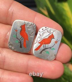 Vtg Zuni Sterling Silver Henry & Linda Barber Inlay Cardinal Bird Post Earrings