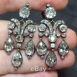 White round earrings 925 Sterling Silver pear drop dangled vintage style cz set