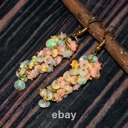 Women's Ethiopian Opal Earring Silver 925 Sterling Dangle Drop Feshion Jewelry