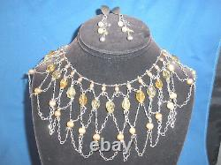 Wow Vintage Sterling Silver &genuine Pearls & Crystals Necklace Earrings Set