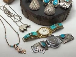 X9 Lot Vintage Native American Navajo Sterling Turquoise Necklace Ring Bracelet