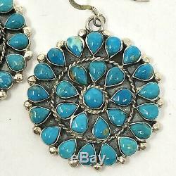 Zuni Earrings Round Turquoise 2in Hook Dangle 17.6g Sterling VTG