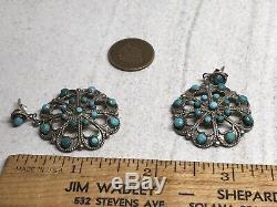 Zuni Murry & Arlene Tsatie Vintage Sterling Turquoise Cluster Dangle Earrings