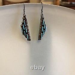 Zuni Native Turquoise Sterling Silver 925 Dangle Earrings Vintage
