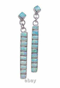Zuni Sterling Silver Opal Inlay Dangle Earrings Vintage